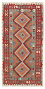 Kelim Afghan Old Style Teppe 101X202 Ekte Orientalsk Håndvevd Mørk Rød/Mørk Grønn (Ull, Afghanistan)