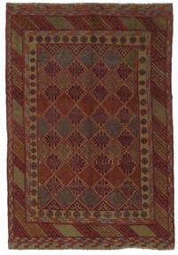 Kelim Golbarjasta Teppe 140X195 Ekte Orientalsk Håndvevd Svart/Mørk Brun (Ull, Afghanistan)