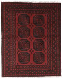 Afghan Teppe 146X186 Ekte Orientalsk Håndknyttet Svart/Mørk Rød (Ull, Afghanistan)