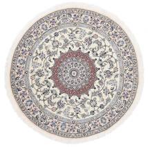 Nain 9La Teppe Ø 145 Ekte Orientalsk Håndknyttet Rundt Hvit/Creme/Lys Grå (Ull/Silke, Persia/Iran)