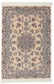 Nain 9La Teppe 99X145 Ekte Orientalsk Håndknyttet Lysbrun/Svart (Ull/Silke, Persia/Iran)