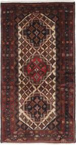 Hamadan Teppe 98X188 Ekte Orientalsk Håndknyttet Svart/Mørk Brun (Ull, Persia/Iran)