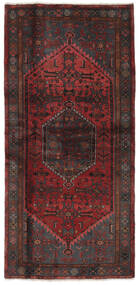 Hamadan Teppe 102X212 Ekte Orientalsk Håndknyttet Svart/Mørk Brun (Ull, Persia/Iran)