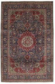 Tabriz Teppe 210X310 Ekte Orientalsk Håndknyttet Svart/Mørk Brun (Ull, Persia/Iran)