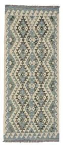 Kelim Afghan Old Style Teppe 79X193 Ekte Orientalsk Håndvevd Teppeløpere Lysgrønn/Mørk Grønn (Ull, Afghanistan)