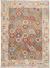 Kelim Afghan Old Style Teppe 257X349 Ekte Orientalsk Håndvevd Lysbrun/Mørk Beige Stort (Ull, Afghanistan)