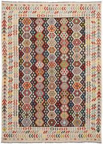 Kelim Afghan Old Style Teppe 251X347 Ekte Orientalsk Håndvevd Svart/Rød Stort (Ull, Afghanistan)