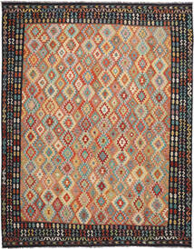 Kelim Afghan Old Style Teppe 308X395 Ekte Orientalsk Håndvevd Svart/Mørk Brun Stort (Ull, Afghanistan)