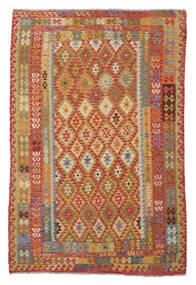 Kelim Afghan Old Style Teppe 180X266 Ekte Orientalsk Håndvevd Mørk Brun/Hvit/Creme (Ull, Afghanistan)