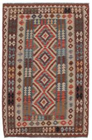 Kelim Afghan Old Style Teppe 136X210 Ekte Orientalsk Håndvevd Mørk Brun/Brun/Svart (Ull, Afghanistan)
