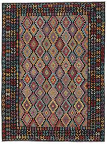 Kelim Afghan Old Style Teppe 259X355 Ekte Orientalsk Håndvevd Svart/Mørk Brun Stort (Ull, Afghanistan)